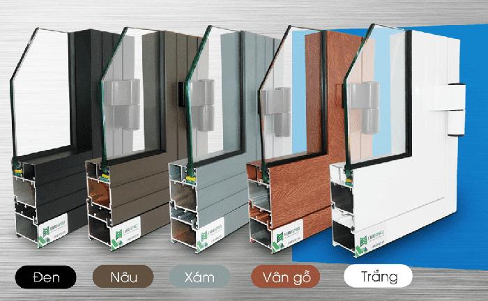 Các màu của cửa nhôm lùa xếp Xingfa nhập khẩu chính hãng.