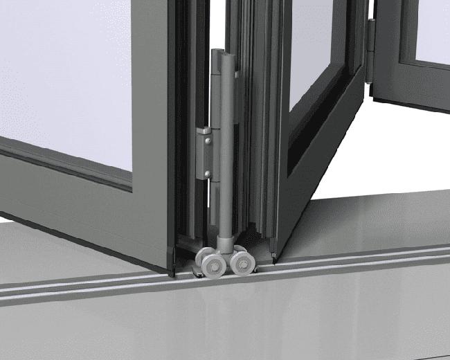 Phụ kiện cửa xếp trượt – Bản lề có bánh xe nối cánh với ray dưới.