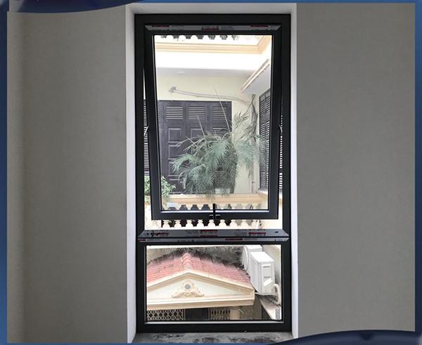 Mẫu cửa sổ mở hất 1 cánh nhôm Xingfa + fix cố định bên dưới