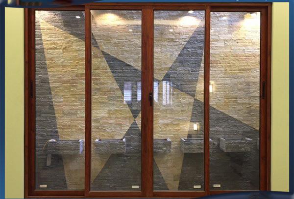 Mẫu cửa sổ mở trượt lùa 4 cánh nhôm hệ Xingfa Zhongkai nhập khẩu mầu Vân gỗ