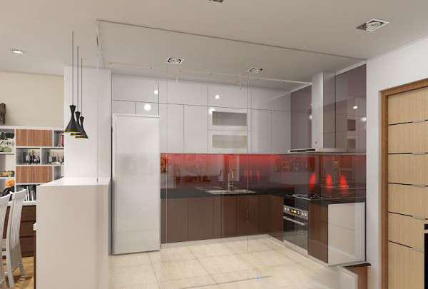 Vách kính cường lực 12mm cho nhà bếp
